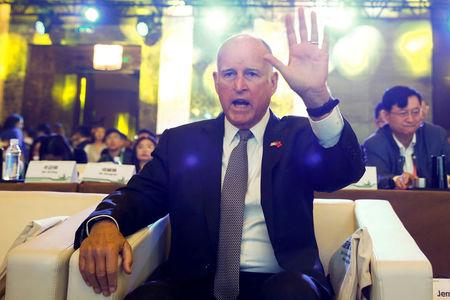 FILE PHOTO: California Governor Jerry Brown  in Beijing, China,  June 6, 2017.   REUTERS/Thomas Peter/File Photo