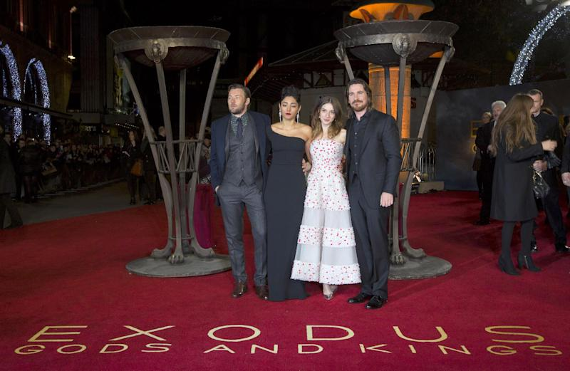 "(L-R) Joel Edgerton, Golshifteh Farahani, Maria Valverde and Christian Bale at the world premier of ""Exodus: Gods and Kings"" in London on December 3, 2014"