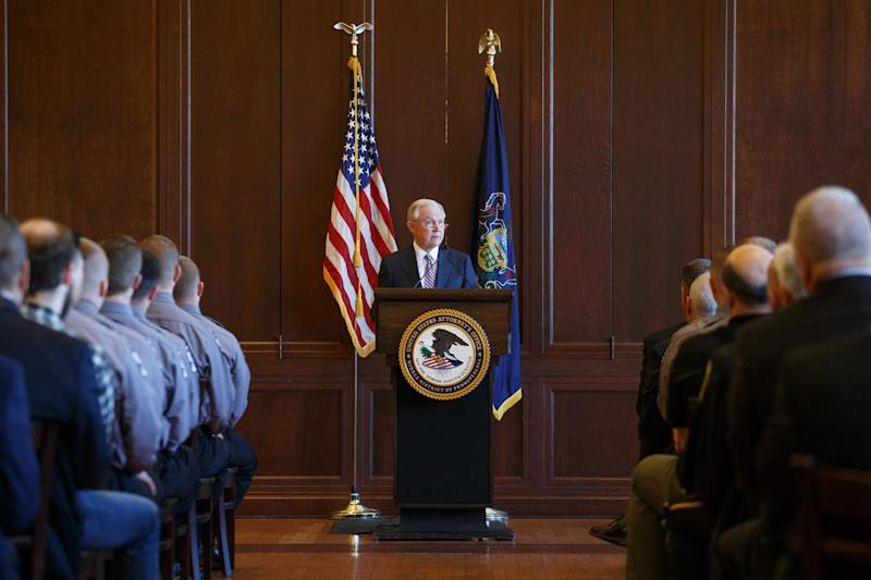Attorney General Jeff Sessions addresses cadets at the Lackawanna College Police Academy in Scranton, Pennsylvania, on June 15. Hundreds of his fellow United Methodist Church members are bringing church charges against him for separating immigrant families. (Pacific Press / Getty Images)