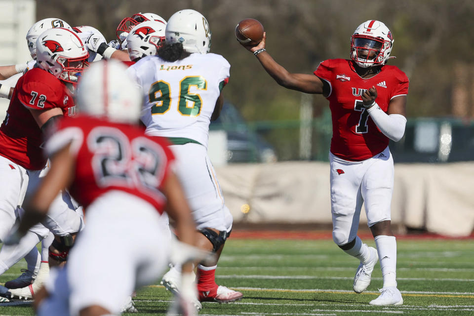 Incarnate Word quarterback Cameron Ward throws a pass during their first home game of the spring Southland Conference season against Southeastern Louisiana at Gayle and Tom Benson Stadium in San Antonio on Saturday, March 20, 2021. For a freshman quarterback, Incarnate Word's Cameron Ward has already put up pretty nice numbers for a season. (Marvin Pfeiffer/The San Antonio Express-News via AP)
