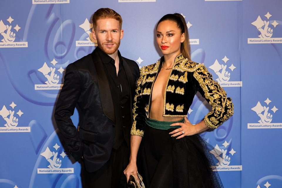 Dancers Neil and Katya Jones pose for photographers upon arrival at the National Lottery Awards, in central London, Friday, Sept. 9, 2016. (Photo by Grant Pollard/Invision/AP)