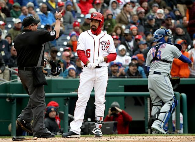 Nationals third baseman Anthony Rendon reacts to being ejected by umpire Marty Foster. (Getty Images)