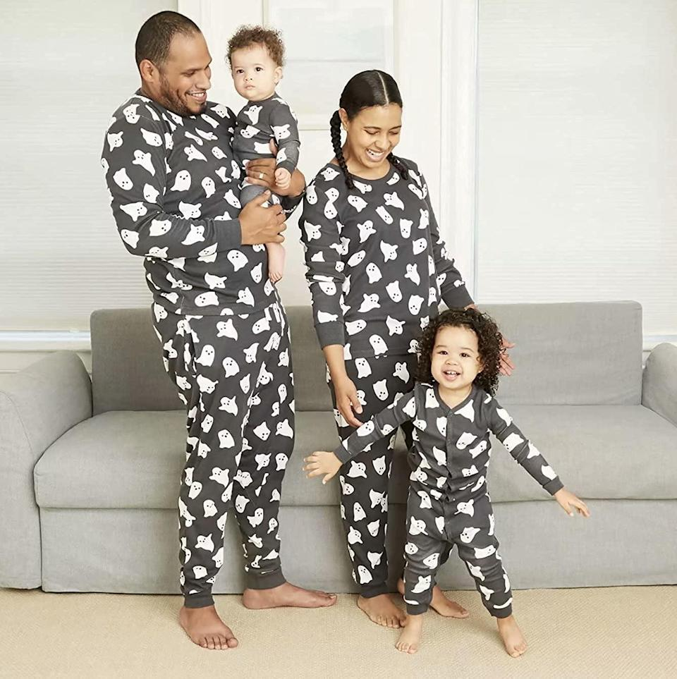 """<p>Get your family these adorable <span>Herimmy Family Matching Halloween Ghost Pajamas</span> ($20 - $50). There are options for infants as well! The two-piece set is perfect for getting cozy for family <a class=""""link rapid-noclick-resp"""" href=""""https://www.popsugar.com/Halloween"""" rel=""""nofollow noopener"""" target=""""_blank"""" data-ylk=""""slk:Halloween"""">Halloween</a> movie nights.</p>"""
