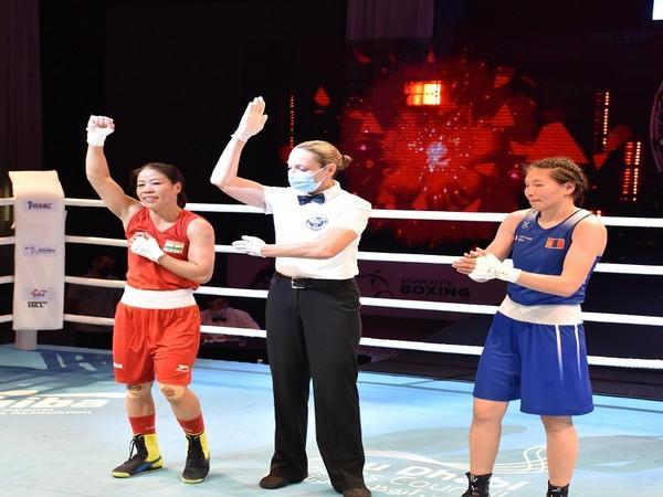 Mary Kom (51 kg) celebrates after winning her semi-final bout (Image: BFI)