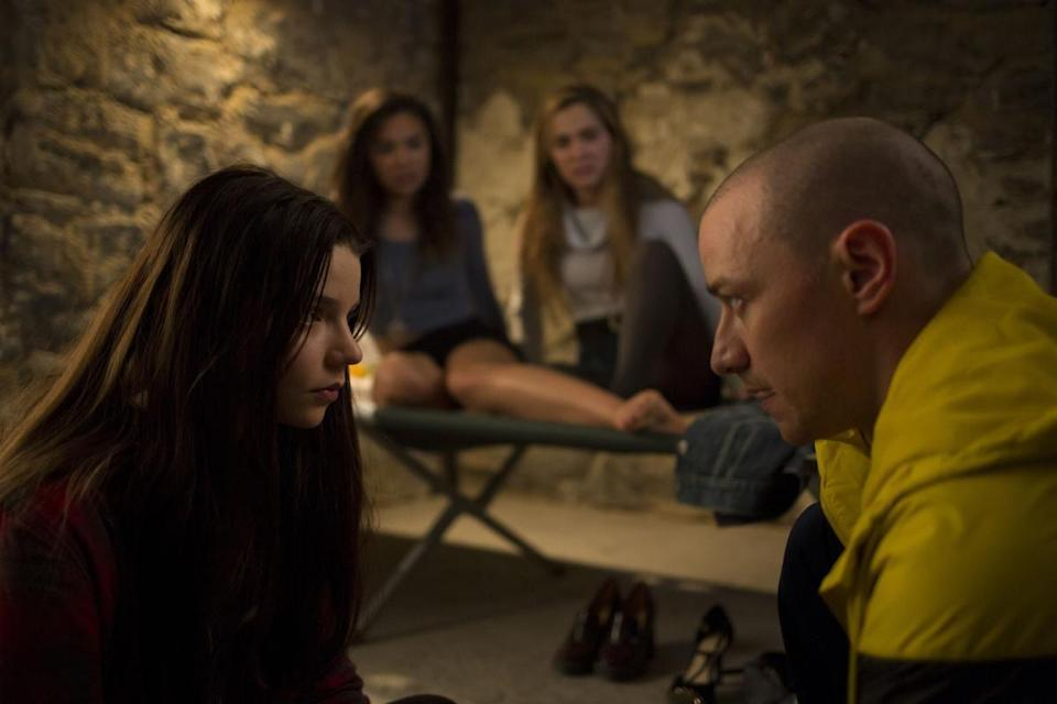 <p><strong>IMDb says:</strong> Three girls are kidnapped by a man with a diagnosed 23 distinct personalities. They must try to escape before the apparent emergence of a frightful new 24th.</p><p><strong>We say: </strong>We liked it better when James McAvoy just wanted to be Shameless.</p><p><strong>Who's in it?</strong> James McAvoy, Anya Taylor-Joy, and Betty Buckley.</p>