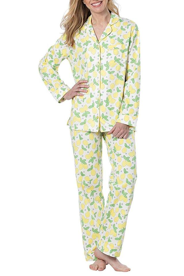 """<p><strong>PajamaGram</strong></p><p>amazon.com</p><p><strong>$43.99</strong></p><p><a href=""""https://www.amazon.com/dp/B07FBG63K5?tag=syn-yahoo-20&ascsubtag=%5Bartid%7C2089.g.1563%5Bsrc%7Cyahoo-us"""" target=""""_blank"""">Shop Now</a></p><p>Fall asleep dreaming of la dolce vita with this adorable lemon-print pajama set. Suddenly we need to book an Italian vacay ASAP. </p>"""