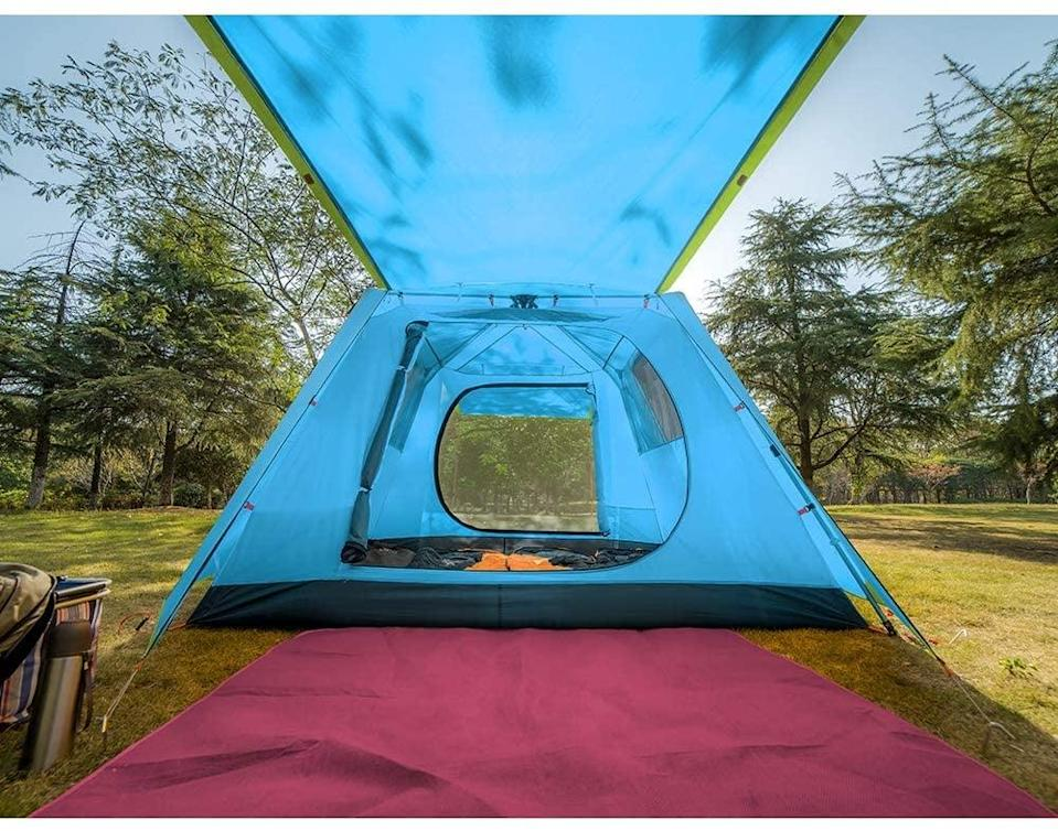 "<p>This <a href=""https://www.popsugar.com/buy/KAZOO-Family-Camping-Tent-Large-Waterproof-Pop-Up-Tent-584330?p_name=KAZOO%20Family%20Camping%20Tent%20Large%20Waterproof%20Pop%20Up%20Tent&retailer=amazon.com&pid=584330&price=190&evar1=savvy%3Aus&evar9=47570402&evar98=https%3A%2F%2Fwww.popsugar.com%2Fsmart-living%2Fphoto-gallery%2F47570402%2Fimage%2F47570432%2FKAZOO-Family-Camping-Tent-Large-Waterproof-Pop-Up-Tent&list1=travel%2Camazon%2Ccamping&prop13=mobile&pdata=1"" class=""link rapid-noclick-resp"" rel=""nofollow noopener"" target=""_blank"" data-ylk=""slk:KAZOO Family Camping Tent Large Waterproof Pop Up Tent"">KAZOO Family Camping Tent Large Waterproof Pop Up Tent</a> ($190) features a front overhang that creates a shaded space.</p>"