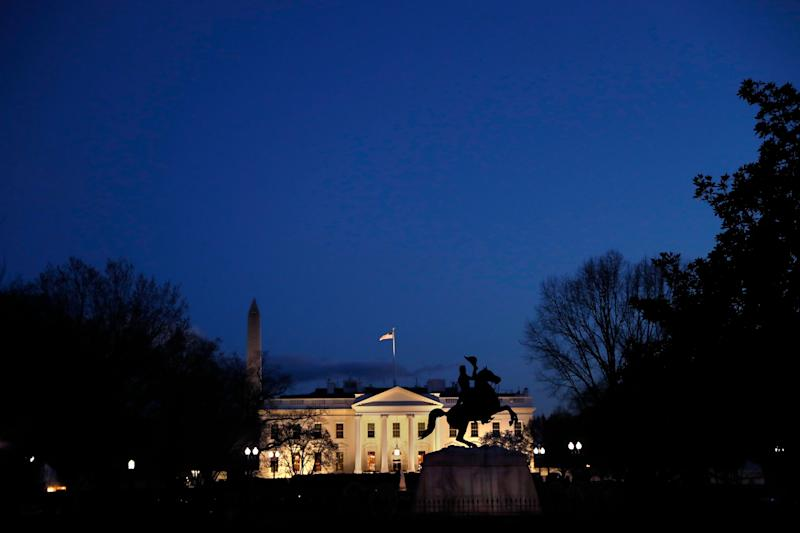 The White House at dusk on March 22, 2019.