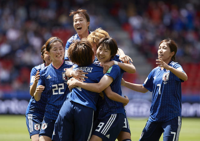 Players of Japan celebrating their team's first goal during the 2019 FIFA Women's World Cup France group D match between Japan and Scotland at Roazhon Park on June 14, 2019 in Rennes, France. (Photo by Quality Sport Images/Getty Images)