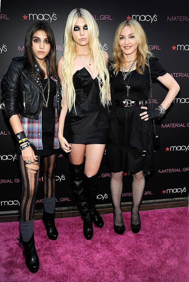 """The mother-daughter duo posed on the pink carpet with Taylor Momsen, the face of Material Girl. Looks like the """"Gossip Girl"""" went a little overboard with her eye makeup, no? Kevin Mazur/<a href=""""http://www.wireimage.com"""" target=""""new"""">WireImage.com</a> - September 22, 2010"""