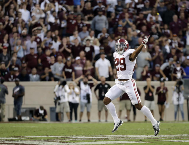 "Alabama's <a class=""link rapid-noclick-resp"" href=""/ncaaf/players/257047/"" data-ylk=""slk:Minkah Fitzpatrick"">Minkah Fitzpatrick</a> (29) celebrates after a Texas A&M turnover during the first quarter of an NCAA college football game Saturday, Oct. 7, 2017, in College Station, Texas. (AP Photo/David J. Phillip)"
