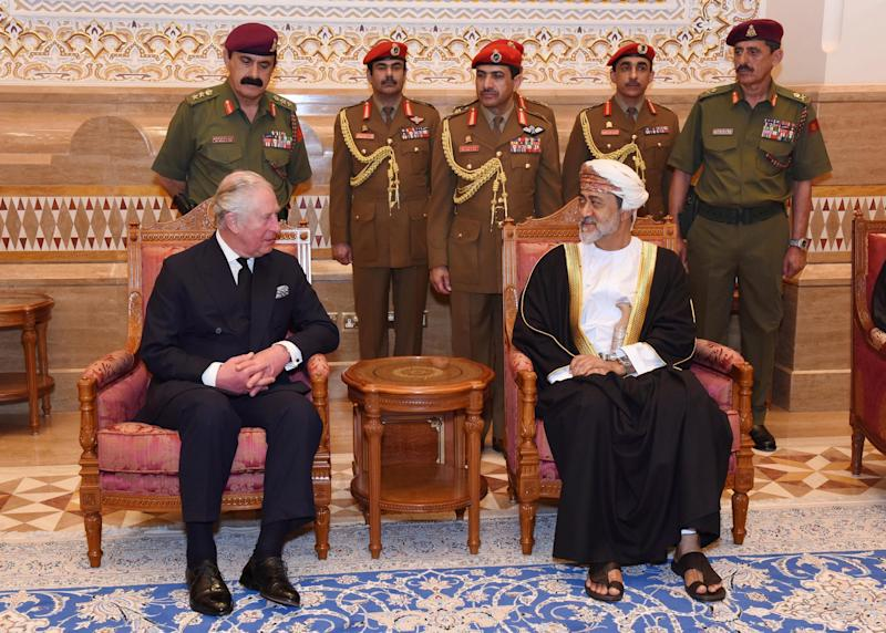 In this photo made available by Oman News Agency, Oman's new Sultan Haitham bin Tariq Al Said, right, receives The Prince of Wales after his arrival to attend the late Sultan Qaboos official mourning ceremony, in Muscat, Oman, Sunday, Jan. 12, 2020.