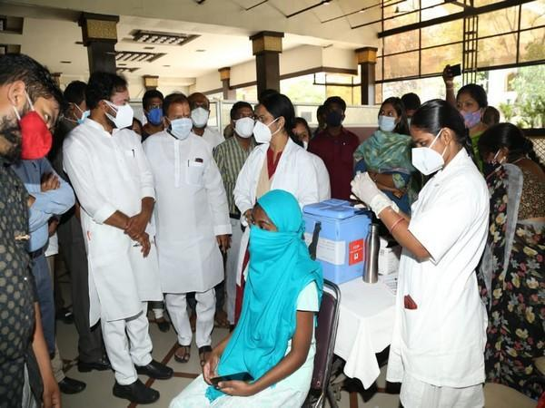 Union Minister of State for Home Affairs Shri G Kishan Reddy inspecting vaccination facilities at Lake View Banjara Garden here in Hyderabad. (Photo/ANI)