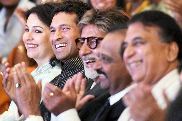 Anjali Tendulkar, her husband Indian cricketer Sachin Tendulkar, Bollywood actor Amitabh Bachchan, former cricketers Gundappa Vishwanath and Sunil Gavaskar share a laugh during at the '60 Not Out' event in Mumbai on November 12, 2009. Former cricketer Sunil Gavaskar and Gundappa Vishwanath were celebrated for their contribution to Indian cricket at the event named '60 Not Out' because they both turn 60 this year. AFP PHOTO/ Pal PILLAI