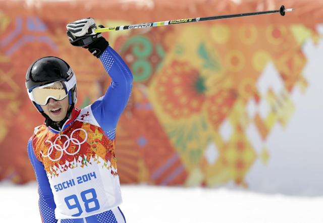 Thailand's Kanes Sucharitakul reacts after finishing the first run of the men's giant slalom at the Sochi 2014 Winter Olympics, Wednesday, Feb. 19, 2014, in Krasnaya Polyana, Russia. (AP Photo/Gero Breloer)