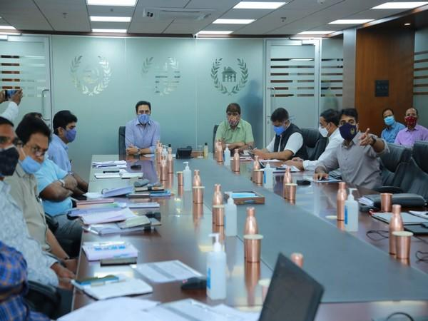 Telangana Minister KT Rama Rao during a review meeting on Monday.