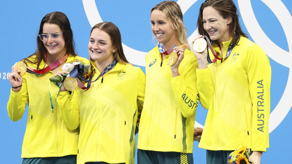 Kaylee McKeown, Chelsea Hodges, Emma McKeon and Cate Campbell, pictured here after the 4x100m medley relay at the Tokyo Olympics.