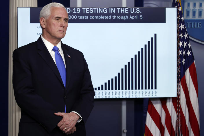 """FILE - In this Monday, April 6, 2020, file photo, Vice President Mike Pence listens as President Donald Trump speaks about the coronavirus at the White House in Washington. Pence, in a June 16, 2020, op-ed in The Wall Street Journal, said the public health system is """"far stronger"""" than it was when coronavirus hit. (AP Photo/Alex Brandon)"""