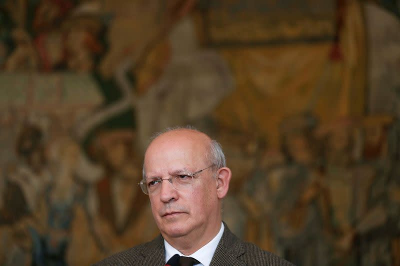 FILE PHOTO: Portuguese Foreign Minister Augusto Santos Silva attends a news conference at Necessidades palace in Lisbon