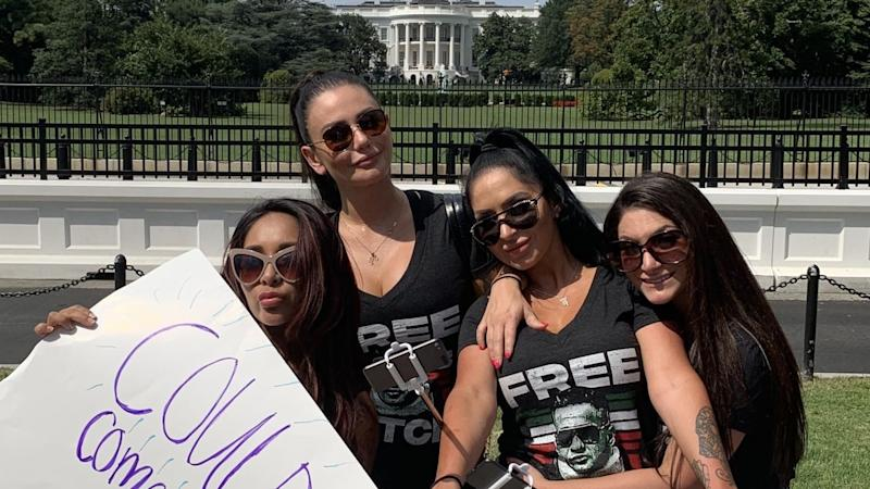 Snooki, JWoww, Deena and Angelina posed for pics in front of the White House wearing 'Free Sitch' T-shirts and holding signs.