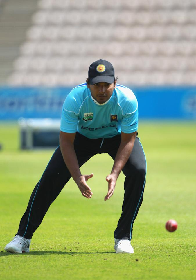 SOUTHAMPTON, ENGLAND - JUNE 14:  Kumar Sangakkarra of Sri Lanka fields the ball during the England and Sri Lanka nets session at The Rose Bowl on June 14, 2011 in Southampton, England.  (Photo by Tom Shaw/Getty Images)