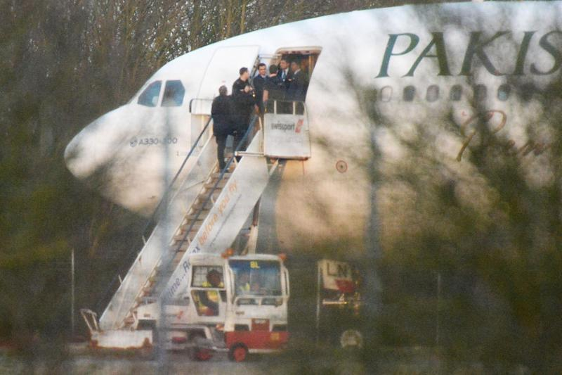 RAF fighters jets intercepted the Pakistan International Airlines flight and escorted the plane to Stansted Airport: John Stillwell/PA Wire