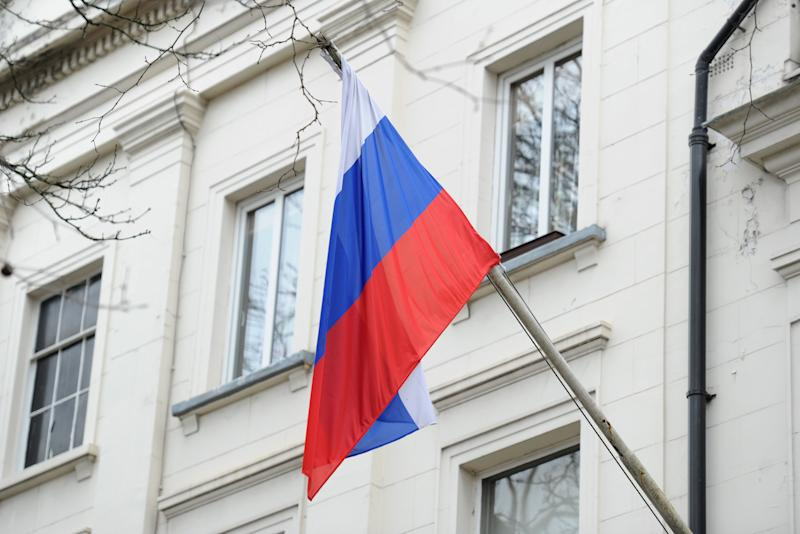 "File photo dated 13/3/2018 of the Russian flag outside the Russian Embassy in London. Russian ""actors"" almost certainly sought to interfere in the 2019 general election through the online ""amplification"" of stolen documents relating to US-UK trade talks, Foreign Secretary Dominic Raab has said."