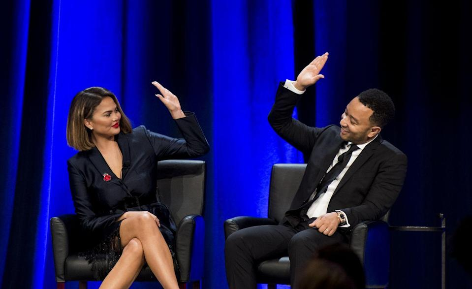 <p>The couple high-fived on stage at the House Democrats' 2019 Conference dinner program in Virginia.</p>