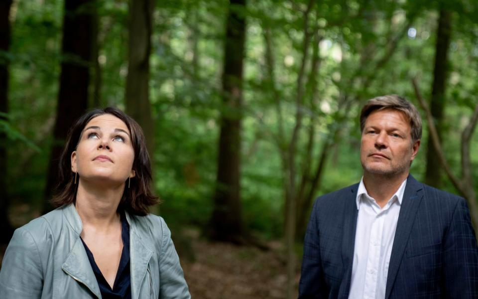 Annalena Baerbock, candidate for chancellor and federal leader of the Greens and Robert Habeck, federal leader of the Greens, visit moor protection measures during a hike through the Biesenthaler Becken nature reserve, Germany, Tuesday, Aug.3, 2021. (Kay Nietfeld/dpa via AP - Kay Nietfeld/DPA