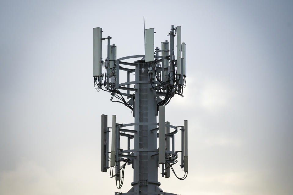 CARDIFF, UNITED KINGDOM - MAY 27: A mobile phone mast on May 27, 2019 in Cardiff, United Kingdom. 5g is due to launch in the UK from EE on May 30. (Photo by Matthew Horwood/Getty Images)