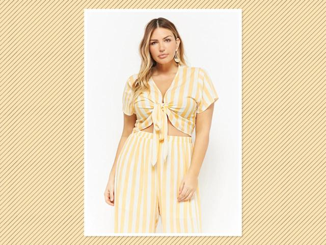 "<p>Plus Size Striped <a href=""https://www.forever21.com/us/shop/Catalog/Product/plus/plus-size-new-arrivals/2000279635"" rel=""nofollow noopener"" target=""_blank"" data-ylk=""slk:Tie-Front Top"" class=""link rapid-noclick-resp"">Tie-Front Top</a>, $25, and <a href=""https://www.forever21.com/us/shop/Catalog/Product/plus/plus-size-new-arrivals-bottoms/2000279621"" rel=""nofollow noopener"" target=""_blank"" data-ylk=""slk:Palazzo Pants"" class=""link rapid-noclick-resp"">Palazzo Pants</a>, $35, Forever 21 (Photo: Forever 21) </p>"