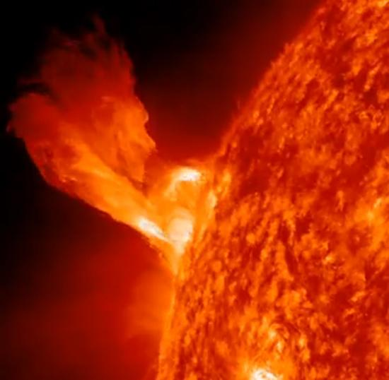 This still from a NASA video shows the New Year's Eve sun eruption of Dec. 31, 2012, to kick off the New Year. NASA's Solar Dynamics Observatory captured the video.