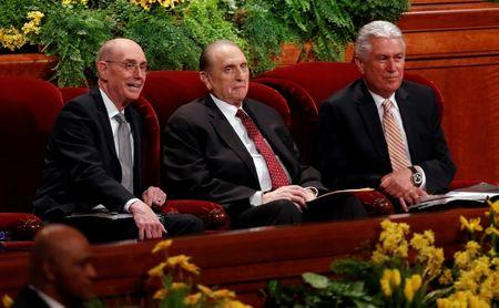 FILE PHOTO: Church of Jesus Christ of Latter-day Saints First Counselor Henry B. Eyring (L), President Thomas S. Monson and Second Counselor Dieter F. Uchtdorf (R) attend the church's biannual general conference in Salt Lake City, Utah, U.S., April 5, 2014. REUTERS/Jim Urquhart/File Photo