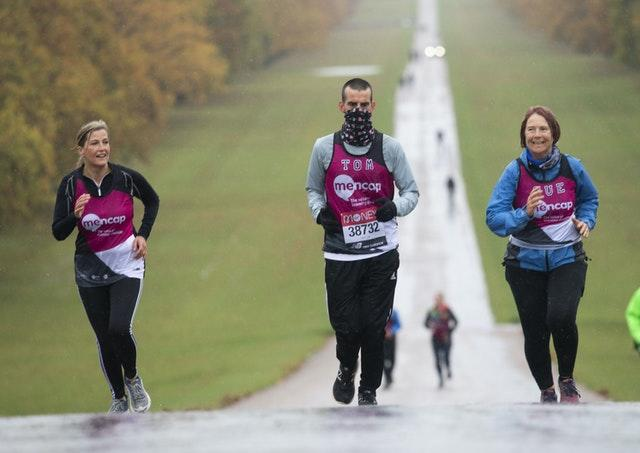 Sophie the Countess of Wessex joined Tomas Cardillo-Zallo, a member of Mencap's learning disability running team and his mother Sue for the first 1.5 miles of their virtual London Marathon on the Long Walk in Windsor