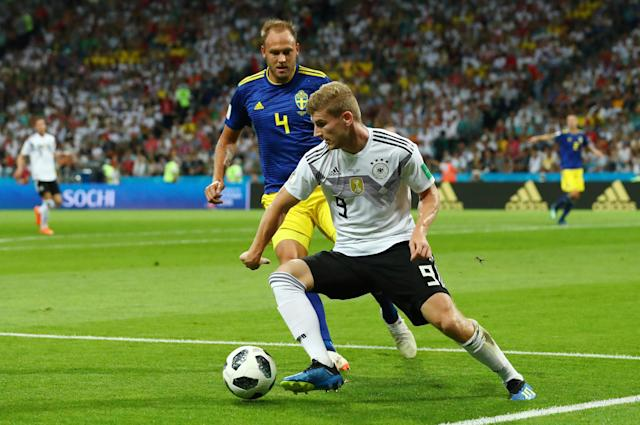 Soccer Football - World Cup - Group F - Germany vs Sweden - Fisht Stadium, Sochi, Russia - June 23, 2018 Sweden's Andreas Granqvist in action with Germany's Timo Werner REUTERS/Pilar Olivares