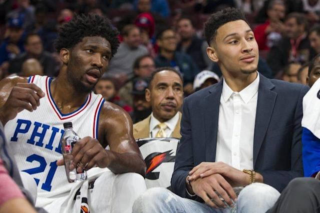 "Will <a class=""link rapid-noclick-resp"" href=""/nba/players/5294/"" data-ylk=""slk:Joel Embiid"">Joel Embiid</a> and <a class=""link rapid-noclick-resp"" href=""/nba/players/5600/"" data-ylk=""slk:Ben Simmons"">Ben Simmons</a> play together this season? (AP)"