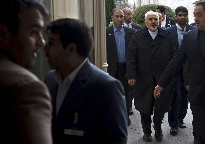 Iranian Foreign Minister Mohammad Javad Zarif arrives at the Beau Rivage Palace Hotel during an extended round of talks on Iran's nuclear programme in Lausanne