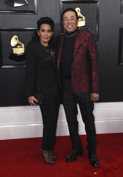 Frances Glandney Robinson, left, and Smokey Robinson arrive at the 62nd annual Grammy Awards at the Staples Center on Sunday, Jan. 26, 2020, in Los Angeles. (Photo by Jordan Strauss/Invision/AP)