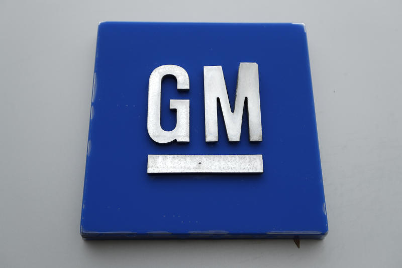 FILE - This Jan. 27, 2020, file photo shows a General Motors logo at the General Motors Detroit-Hamtramck Assembly plant in Hamtramck, Mich. GM is pulling out of Australia, New Zealand and Thailand as part of a strategy to exit markets that don't produce adequate returns on investments, the company said in a statement Sunday, Feb. 17. (AP Photo/Paul Sancya, File)