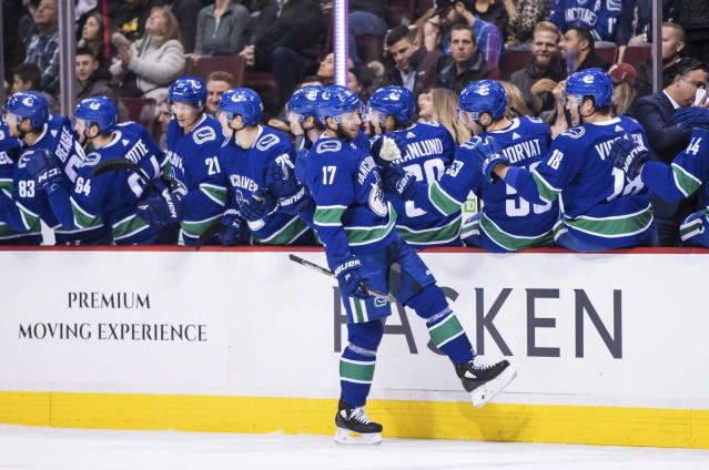 Vancouver Canucks' Josh Leivo celebrates his goal against the Minnesota Wild during the first period of an NHL hockey game in Vancouver, British Columbia, Tuesday Dec. 4, 2018. (Darryl Dyck/The Canadian Press via AP)