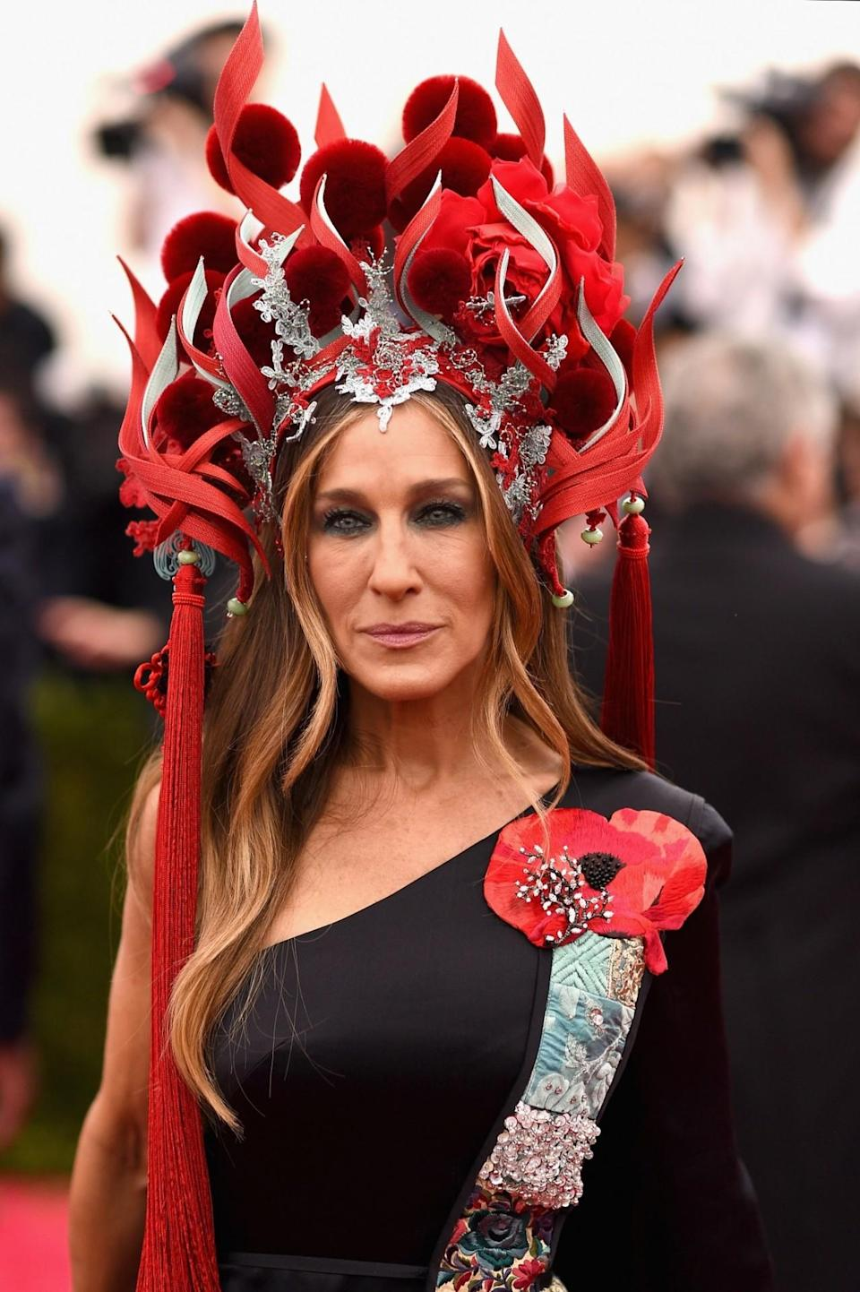 <p>Many memes were born from SJP's fiery 'China: Through The Looking Glass' Met Gala look in 2015. </p>