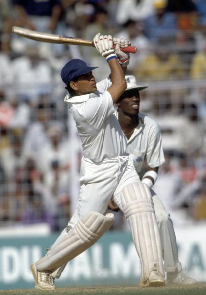 Sachin Tendulkar batting for India during the 3rd Test match between India and England at the Wankhede Stadium in Bombay, February 21st 1993. The England fielder is Chris Lewis. India won by an innings and 15 runs to win the series 3-0. (Photo by David Munden/Popperfoto/Getty Images)