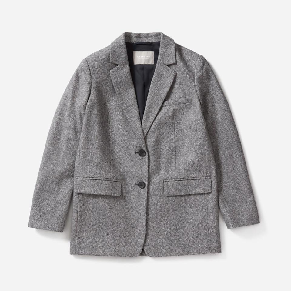 "$160, Everlane. <a href=""https://www.everlane.com/products/womens-oversized-blazer-greyherringbone?collection=womens-outerwear"">Get it now!</a>"
