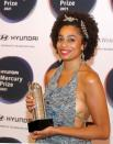 """FILE PHOTO: Recording artist Celeste poses for a photograph in the Hyundai Mercury Prize """"Albums of the Year"""" nominations ceremony in London"""