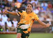 <p>Sam Kerr dons the new Matildas home kit – which is a throwback to the Socceroos of the 90s. </p>