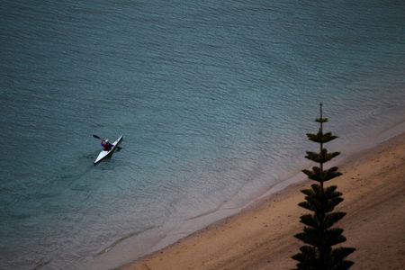 FILE PHOTO - A kayaker paddles off Wellington's Oriental Bay beach September 15, 2011.  REUTERS/Mike Hutchings/File Photo