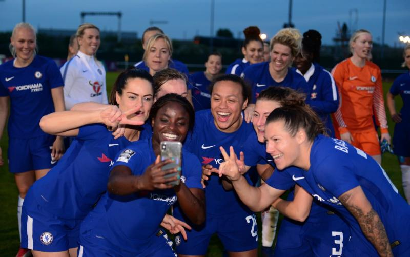 Chelsea Ladies - now Chelsea Football Club Women - celebrate winning the Women's Super League earlier this month  - Chelsea FC