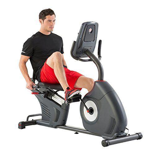 "<p><strong>Schwinn Fitness</strong></p><p>amazon.com</p><p><strong>$647.99</strong></p><p><a href=""https://www.amazon.com/dp/B01MS7EWR9?tag=syn-yahoo-20&ascsubtag=%5Bartid%7C10055.g.35852402%5Bsrc%7Cyahoo-us"" rel=""nofollow noopener"" target=""_blank"" data-ylk=""slk:Shop Now"" class=""link rapid-noclick-resp"">Shop Now</a></p><p>Compared to upright bikes, recumbent options allow you to exercise your lower body with less strain on your joints. Plus, the design of recumbent bikes makes it much easier to balance and sit more comfortably. This well-designed recumbent bike from industry-leader Schwinn features 25 levels of resistance and 29 preset workout programs. The DualTrack LCD screens gives you insight into metrics as you ride. Our experts like that the bike also has Bluetooth connectivity, as well as a media shelf with USB media charging and an adjustable fan. <strong>Reviewers rave that the bike offers a very quiet and smooth ride, and many say it is ideal for seniors. </strong>The back of the contoured seat has small holes for ventilation, and the padded seat bottom and slider seat rail system lets you adjust your positioning with ease.</p><p><strong>Dimensions: </strong>64"" L x 27.7"" W x 49.9"" H</p><p><strong>Weight Limit: </strong>300lbs</p><p><strong><strong>D</strong></strong><strong><strong>igital Monitor:</strong></strong> Yes, 2 Blue Backlight LCD Displays</p><p><strong>Pedals: </strong>Strap for standard exercise shoes</p><p><strong>Additional Costs:</strong> None</p>"