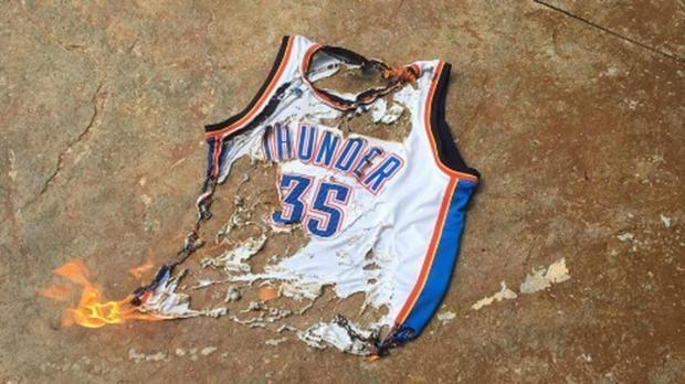 Kevin Durant's jersey burned after leaving OKC. (AP)
