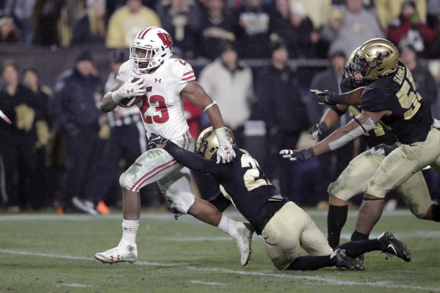 Wisconsin running back Jonathan Taylor has an absurd 4,171 rushing yards in just two seasons of college football. (AP Photo/Michael Conroy, File)